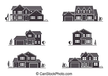Vector silhouette suburban american house.