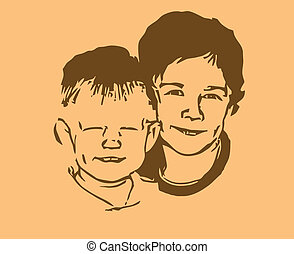 vector silhouette two boys