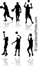 vector, silhouette, van, basketbal speler