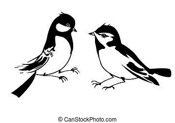 vector, silhouette, van, de, kleine, vogel, op wit,...