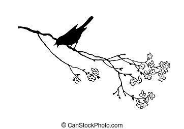 vector, silhouette, van, de, vogel, op, tak, boompje