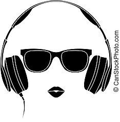 vector, silhouette, van, gekleurde, meisje, met, headphones