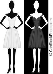 vector, silhouette, van, meisje, in, mooi, jurkje