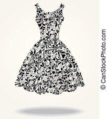 vector, silhouette, van, vrijstaand, back, jurkje