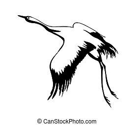 vector, silhouette, vliegen, kraan, op wit, achtergrond