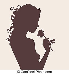 Vector silhouette woman with rose