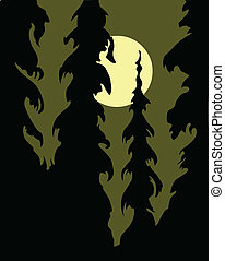 vector silhouette wood on white background