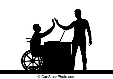 Vector silhouette worker disabled male in a wheelchair with an employee at work