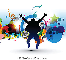 vector silhouetted of a man dance with musical background.