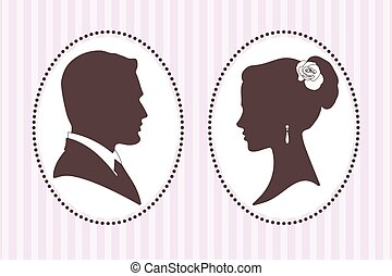 Vector silhouettes groom and bride