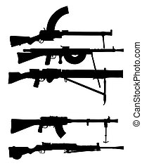 vector silhouettes machine gun on white background