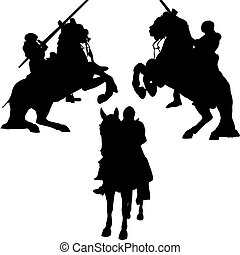 vector silhouettes of mounted knights in armor