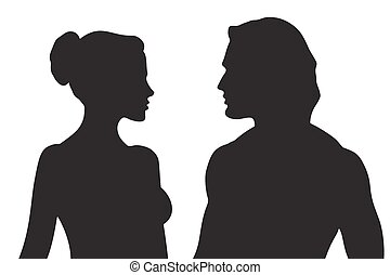 Vector silhouettes of a couple
