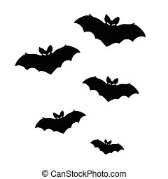 Vector silhouettes of bats on white