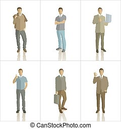 Vector silhouettes of business people color
