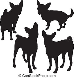 vector silhouettes of dogs in the rack