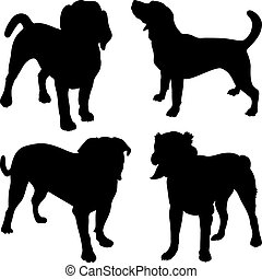 vector silhouettes of dogs in the rack - set of silhouettes ...