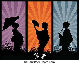geishas - vector silhouettes of geishas