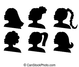 vector silhouettes of hairdo on a white background