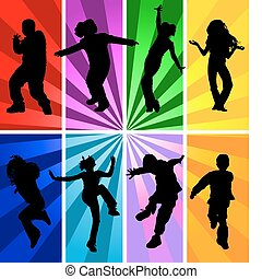 Vector silhouettes of jumping kids