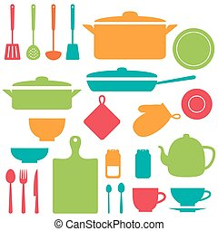 Vector silhouettes of kitchen tools