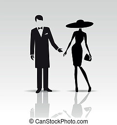 Vector silhouettes of lady and gentleman isolated on a white...