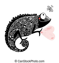vector silhouettes of lizards iguana gecko chameleon drawing