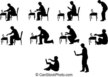 silhouettes of man with laptop