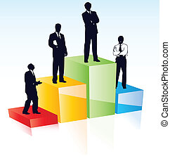 Vector silhouettes of managers business team according their...