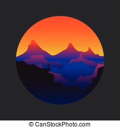 Vector silhouettes of mountains