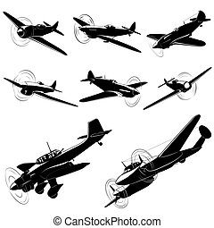 Vector silhouettes of old fighters