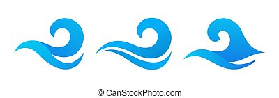 Vector silhouettes of sea waves. Vector graphic symbols for logo design. Sea wave elements collection.