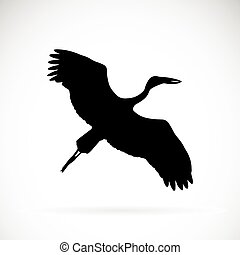 Vector silhouettes of stork flight on white background.