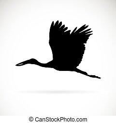 Vector silhouettes of stork flight on white background.