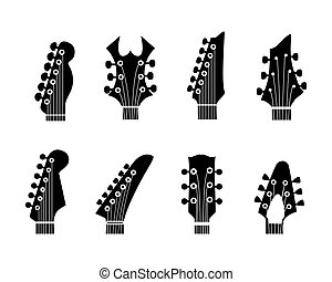 guitar neck - vector silhouettes of the guitar neck on a ...