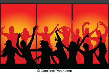 Vector silhouettes of young people-Event