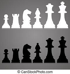 Vector silhouettes. set of standard chess pieces.
