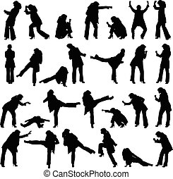 Vector silhouettes set - women fighting