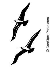vector, silhouettes, van, de, overzeese vogels