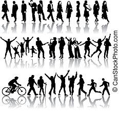 vector, silhouettes, van, mensen