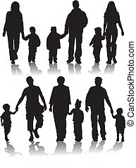 vector, silhouettes, van, ouders, met, kinderen