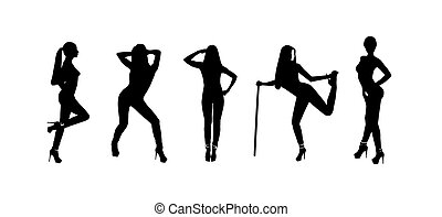 Vector Silhouettes - vector silhouettes of a pretty girl in...