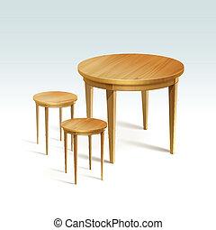 vector, sillas, dos, madera, tabla, redondo, vacío