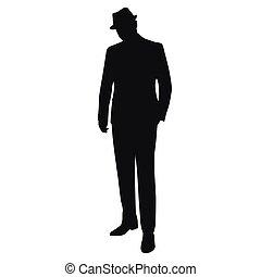 vector, silueta, aislado, hombre, sombrero