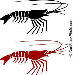 vector, silueta, camarón