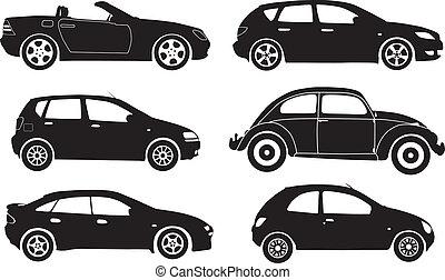 vector, silueta, coches
