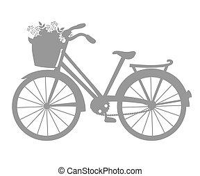 vector, silueta, de, bicicleta