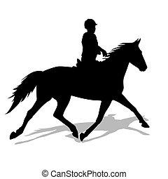 vector, silueta, de, caballo, y, jinete