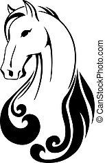 vector, silueta, de, un, caballo, cabeza