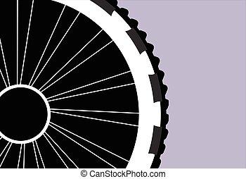 vector, silueta, de, un, rueda de bicicleta